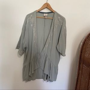 Knox Rose Sage Green Embroidered Cardigan